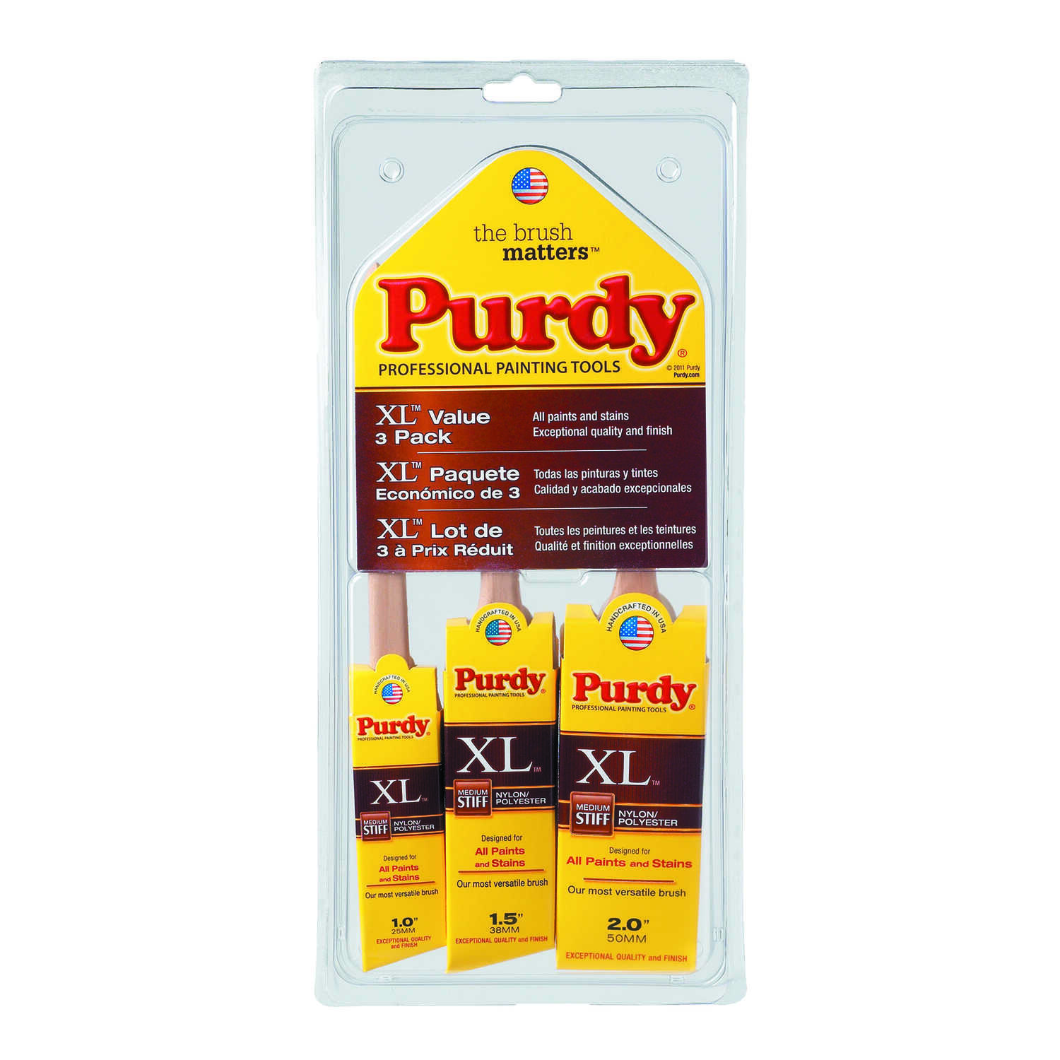 Purdy  1, 1-1/2 and 2 in. W XL Multi-Packs  Assorted  Polyester  Paint Brush Set
