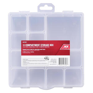 Ace  8 in. L x 8 in. W x 1-3/4 in. H Tool Storage Bin  Plastic  13 compartments Clear