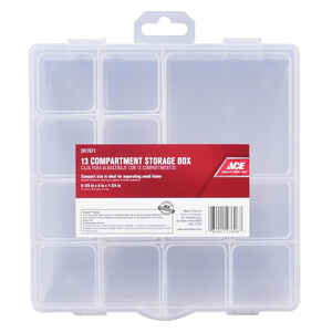 Ace  8 in. L x 8 in. W x 1-3/4 in. H Tool Storage Bin  Plastic  13 compartment Clear