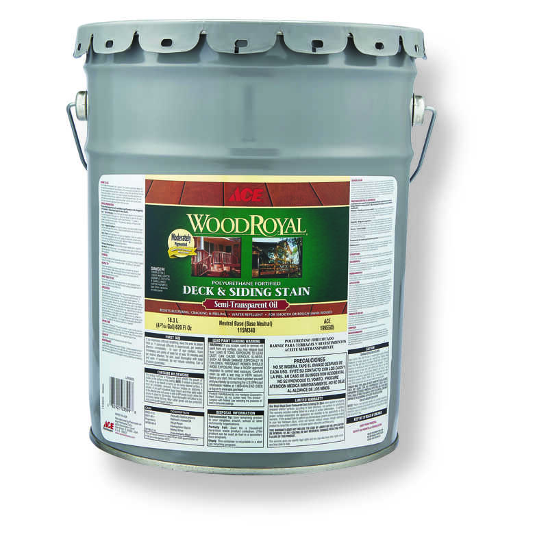 Ace  Wood Royal  Semi-Transparent  Tintable Neutral Base  Penetrating Oil  Deck and Siding Stain  5