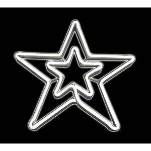 Sienna  Neon Double Star  Christmas Decoration  White  Metal  1 pk