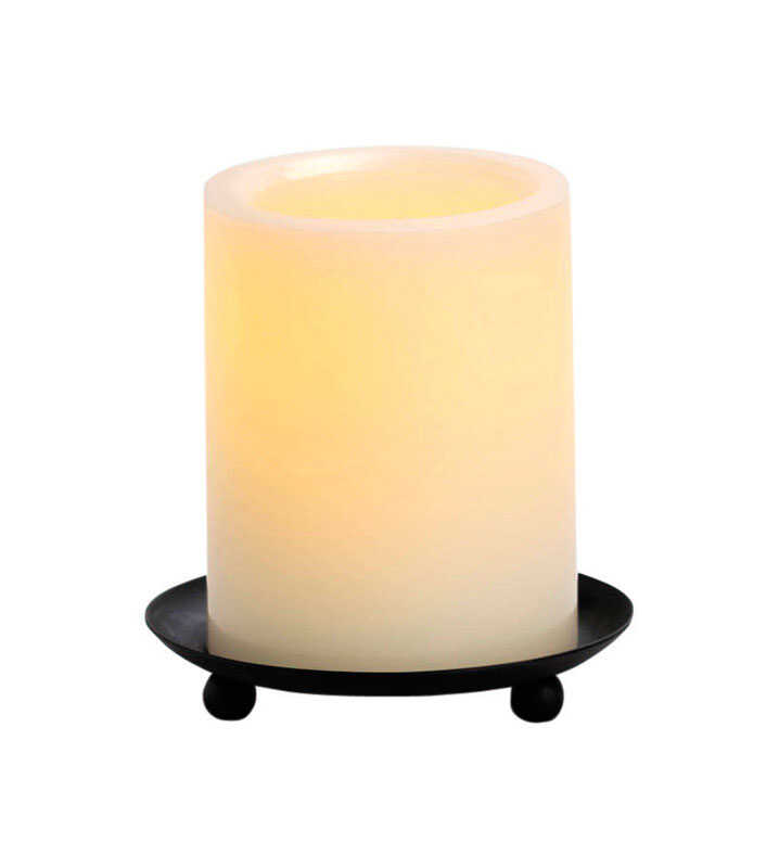 Inglow  Vanilla Scent Butter Cream  Pillar  Candle  4 in. H