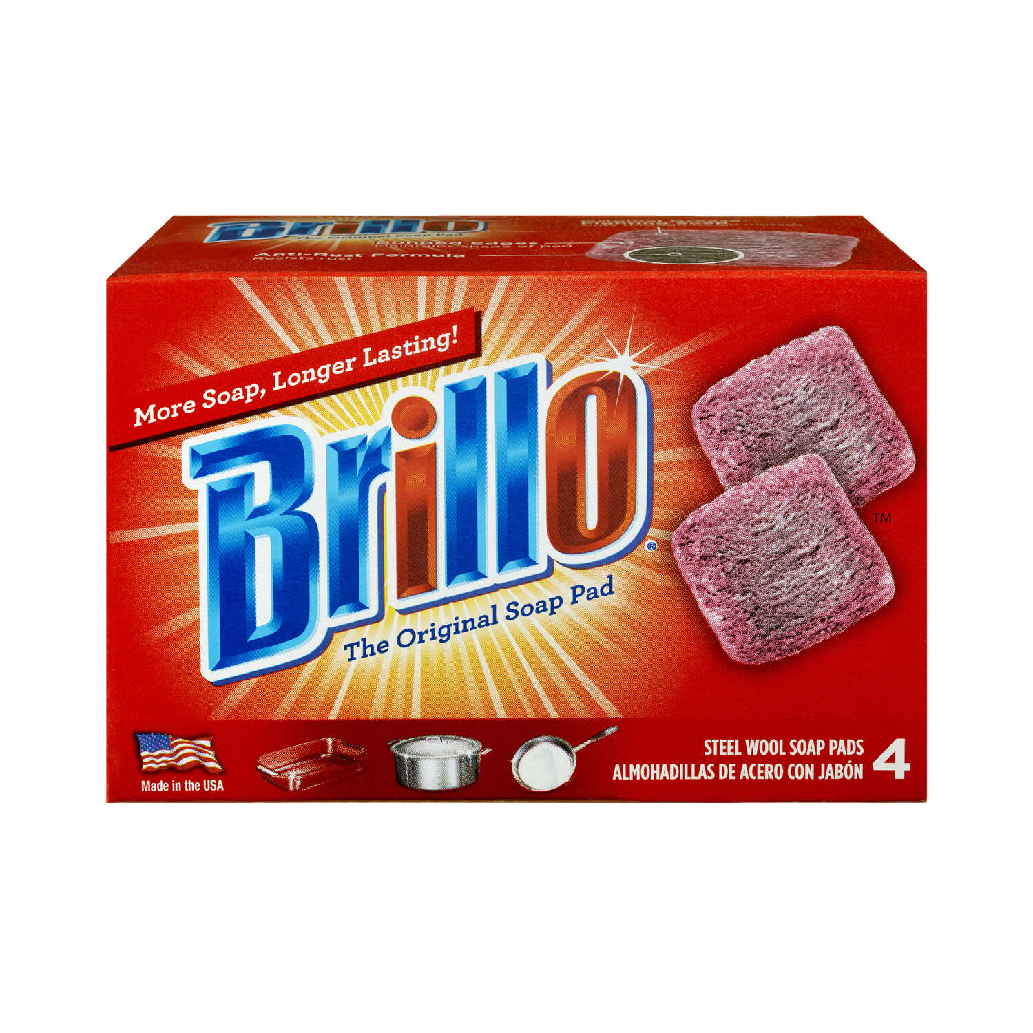 Brillo  Heavy Duty  Steel Wool Pads  For Multi-Purpose 4 pc.