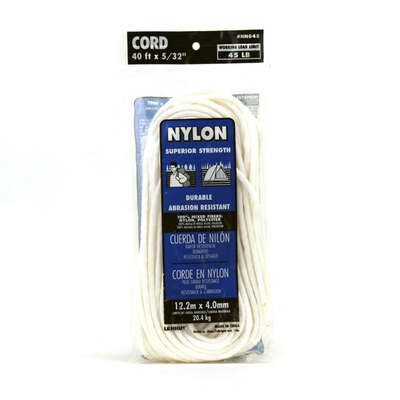 Lehigh  5/32 in. Dia. x 40 ft. L White  Diamond Braided  Nylon  Paracord