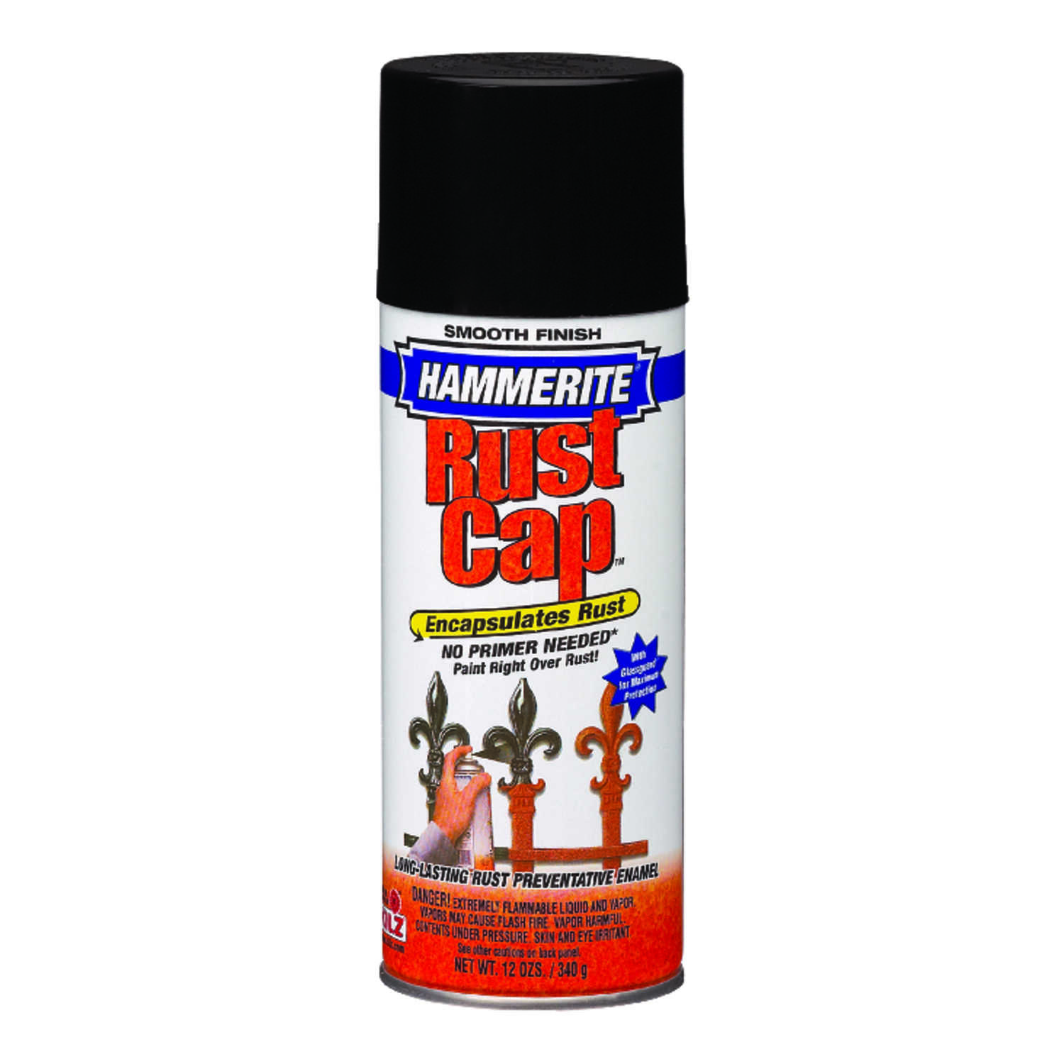 Hammerite  Rust Cap  Gloss  Black  Smooth Enamel Finish Spray  12 oz.