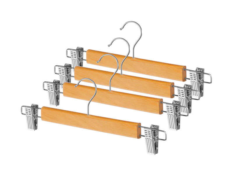 Whitmor  13 in. L x 4-9/16 in. H x 1 in. W Wood  Brown  Skirt Hanger  4 pk