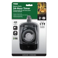 Prime  Outdoor  24 Hour Mechanical Timer With Two Grounded Outlets  125 volt Black