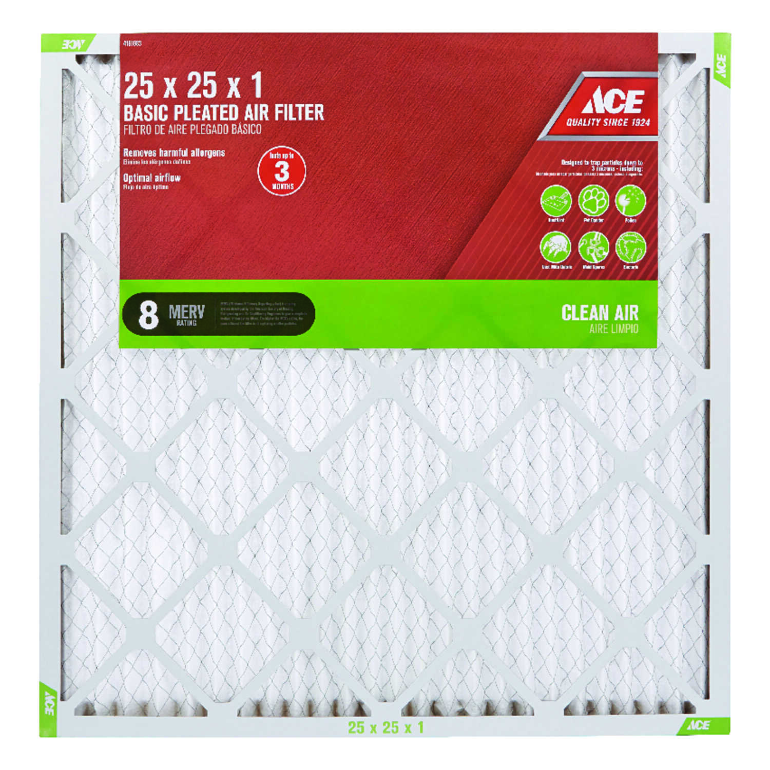 Ace  25 in. W x 25 in. H x 1 in. D 8 MERV Air Filter  Pleated