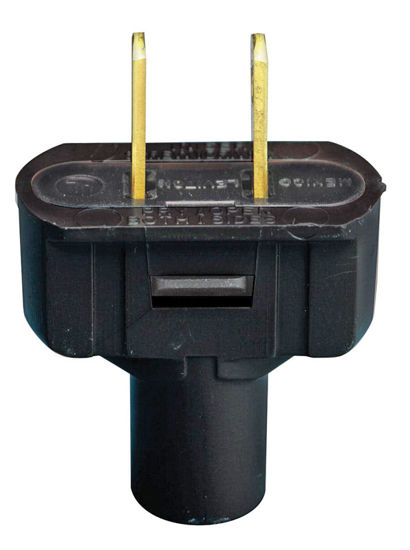 Leviton  Commercial and Residential  Vinyl  Non-Polarized  Plug  1-15P  18-14 AWG 2 Pole 2 Wire