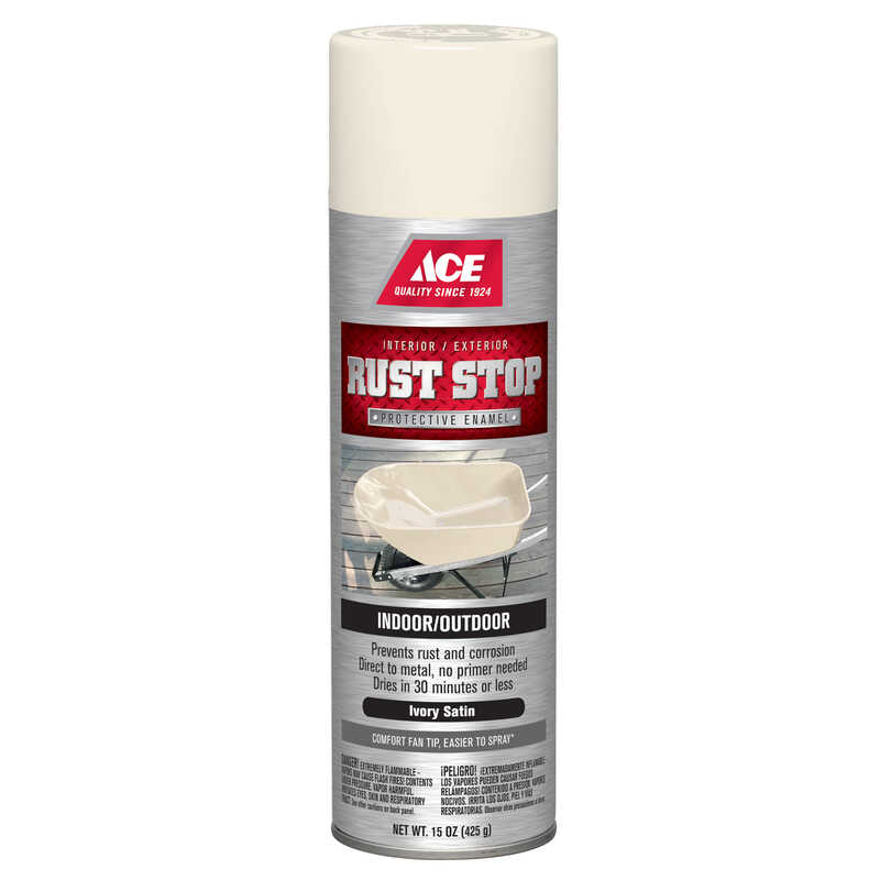 Ace  Rust Stop  Satin  Ivory  Spray Paint  15 oz.