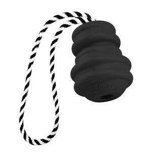 MultiPet  Black/White  Gorrrilla With Rope  Rubber  Dog Toy  Small