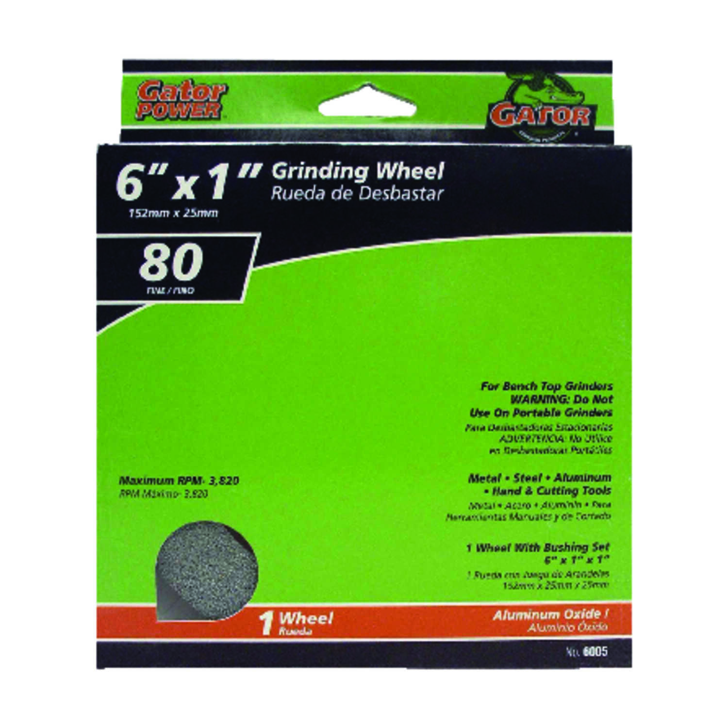 Gator  1 in. thick  x 6 in. Dia. x 1 in.   Aluminum Oxide  Grinding Wheel  3820 rpm 1 pc.