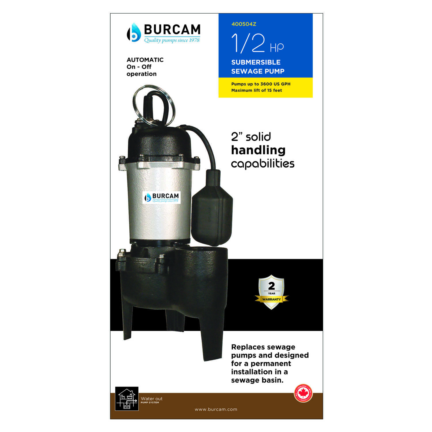 Burcam  1/2 hp 3600 gph Cast Iron  Submersible Sewage Ejector Pump