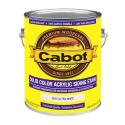 Cabot  Solid  0812 Ultra White  Water-Based  Acrylic  Siding Stain  1 gal.