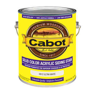 Cabot  Solid  0812 Ultra White  Water-Based  Acrylic  Solid Color Acrylic Deck Stain  1 gal.
