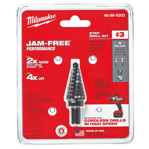 Milwaukee  JAM-FREE  1/4 - 3/4 in. Dia. x 6 in. L Black Oxide  Step Drill Bit  1 pc.