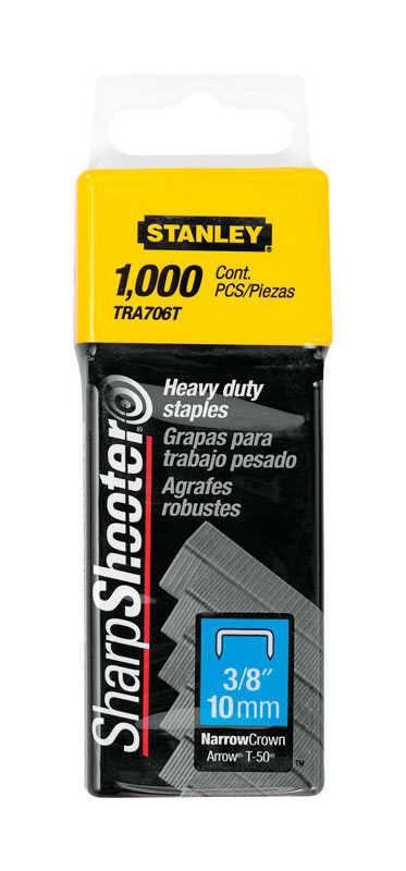 Stanley  Sharp Shooter  3/8 in. L x 5/16 in. W Steel  Narrow Crown  Heavy Duty Staples  1000 pk