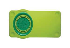 Squish  12 in. W x 21 in. L Green  Cutting Board with Collaspible Colander