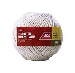 Ace  16 in. Dia. x 350 ft. L White  Twisted  Cotton  Twine