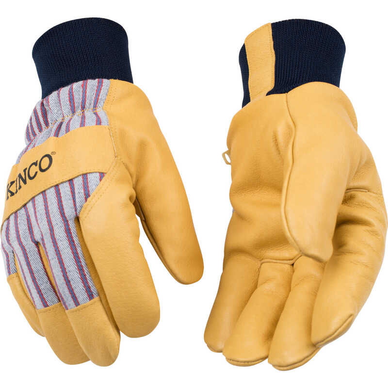 Kinco  Men's  Outdoor  Pigskin Leather  Knit Wrist  Work Gloves  Yellow  M