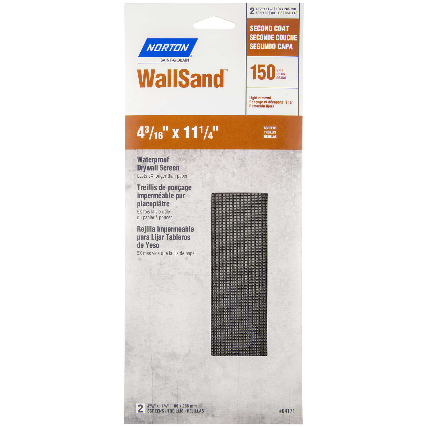 Norton  WallSand  11-1/4 in. L x 4-3/16 in. W 150 Grit Silicon Carbide  Waterproof Drywall Screen  2
