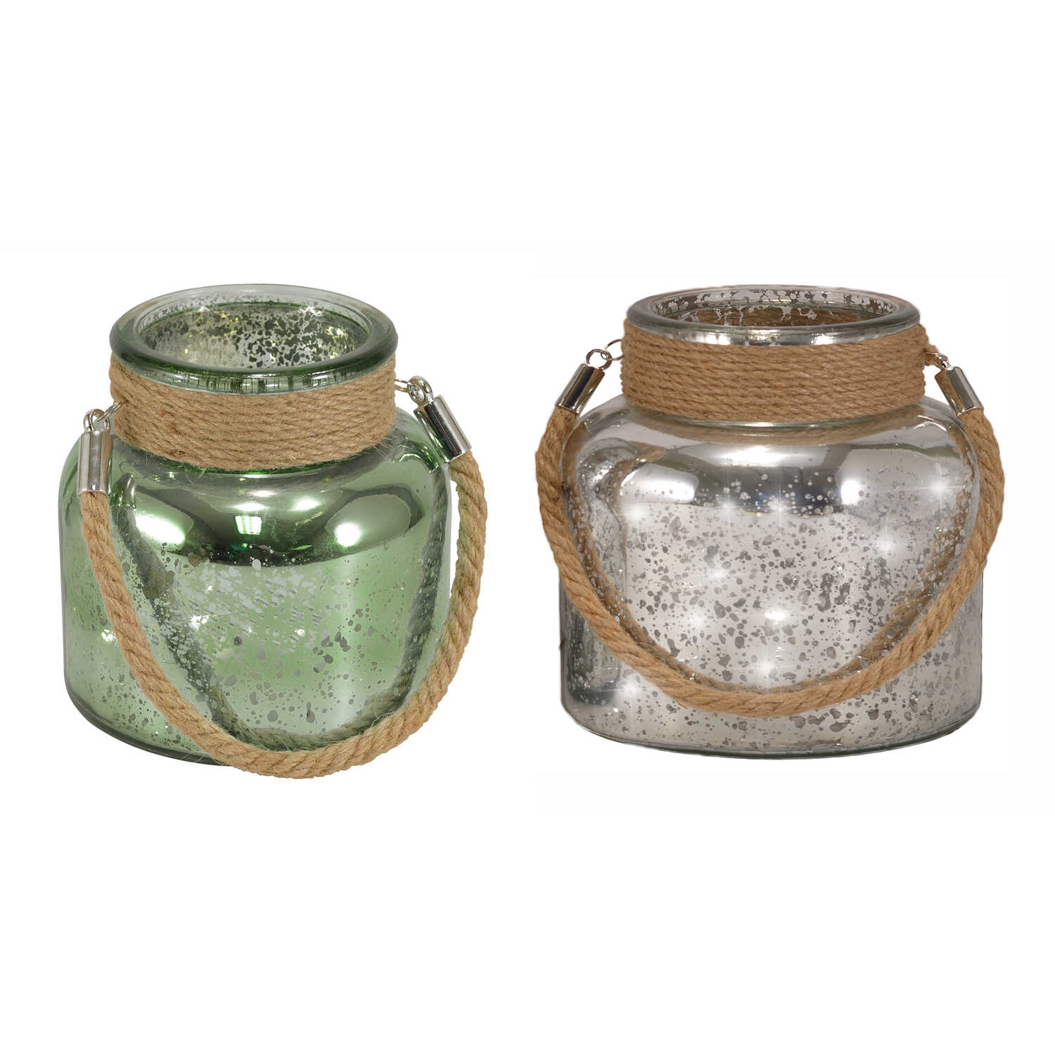 Mark Feldstein  4-1/2 in. H Silver and Sage  Mercury Glass  Canisters with Jute Handle