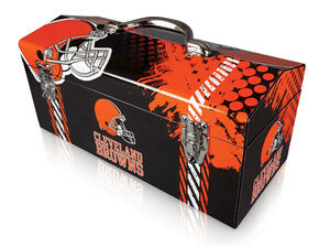 Sainty International  16.25 in. Steel  Cleveland Browns  Art Deco Tool Box  7.1 in. W x 7.75 in. H