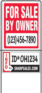 Hy-Ko  English  For Sale by Owner  Sign  Plastic  14 in. H x 18 in. W