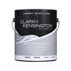 Clark+Kensington  Semi-Gloss  White  Premium Cabinet, Door & Trim Paint  Interior  1 gal.