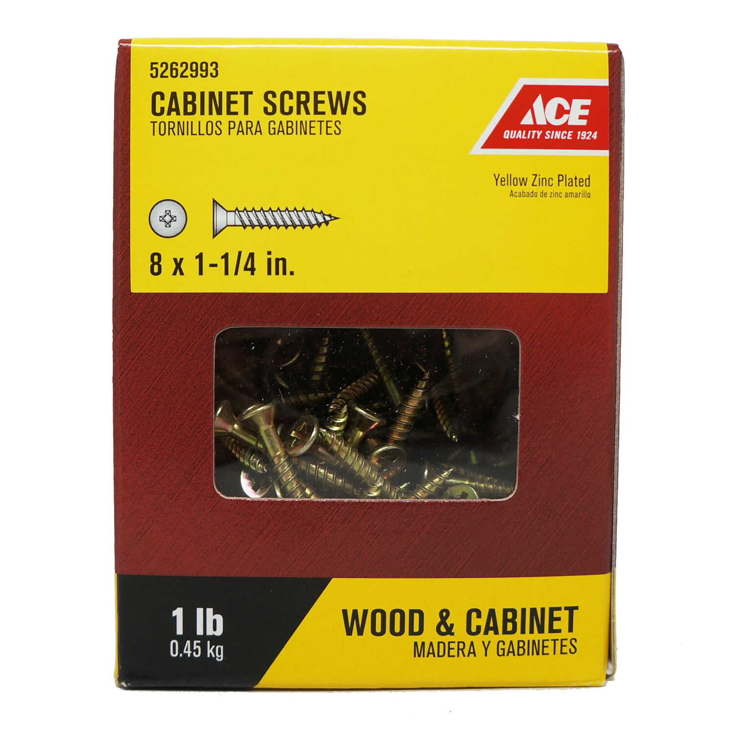 Ace  No. 8   x 1-1/4 in. L Phillips  Flat Head Yellow Zinc-Plated  Steel  Cabinet Screws  1 lb. 195