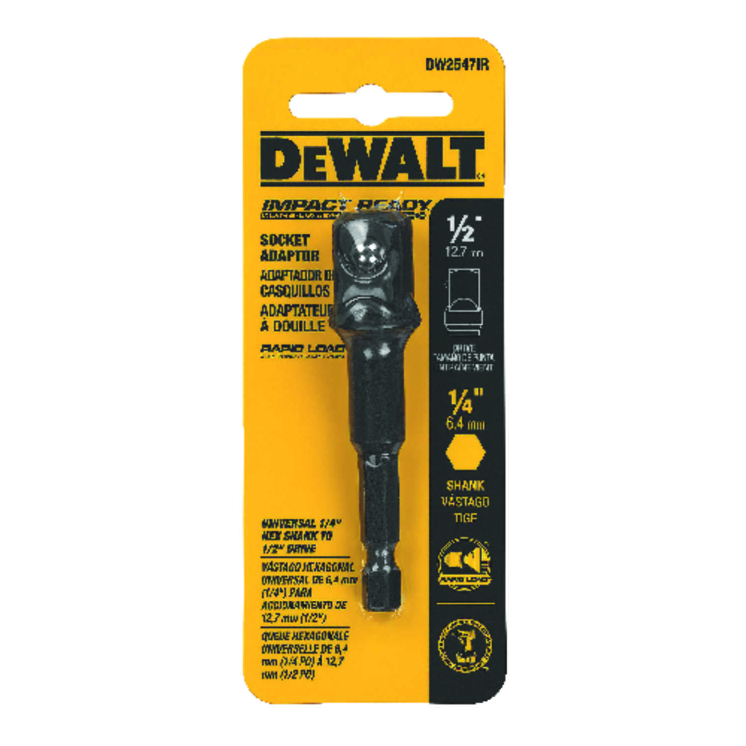 DeWalt  3 in. L x 1/4 in.  Socket Impact Adapter  1 pc. Steel