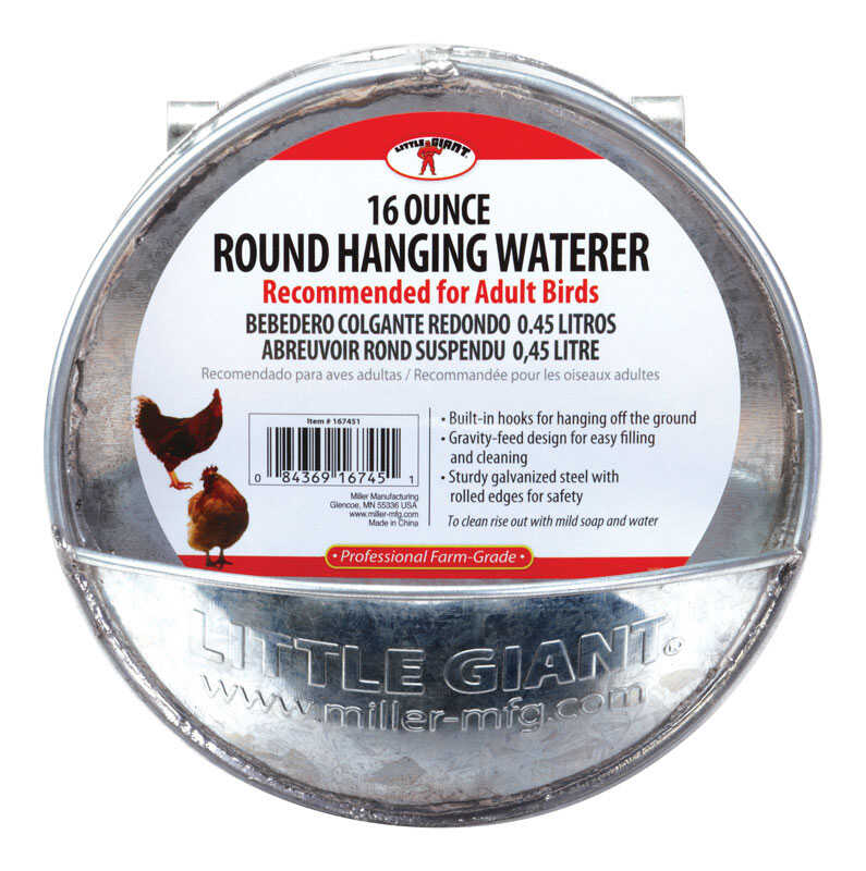 Miller  Little Giant  1 oz. Hanging Waterer  For Poultry