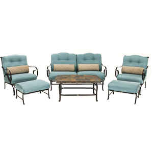 Hanover  Oceana  6 pc. Matte Black  Steel  Patio Set  Ocean Blue