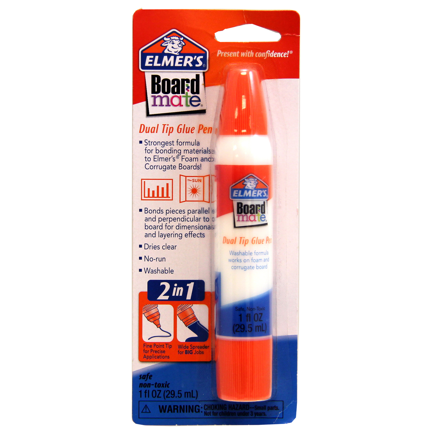 Elmer's  BoardMate  Medium Strength  Polyvinyl acetate homopolymer  Dual Tip Glue Pen  1 oz.