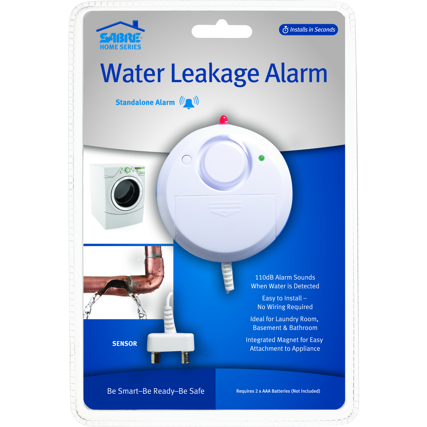 Sabre  White  Plastic  Water Leak Detection Alarm