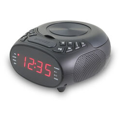 GPX  .9 in. Black  AM/FM Clock Radio with CD Player  Digital  Plug-In
