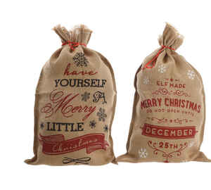Decoris  Christmas Bag With Text  Christmas Decoration  Brown  Burlap  31.5 in. 1 pk