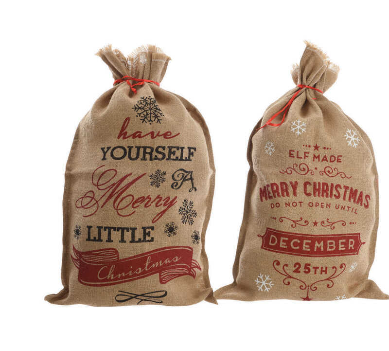 Decoris  Christmas Bag With Text  Christmas Decoration  Brown  Burlap  1 pk