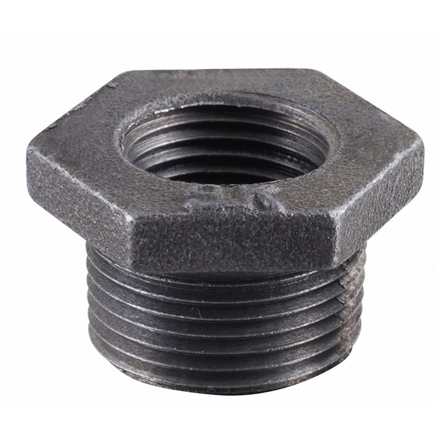B & K  3/4 in. MPT   x 1/2 in. Dia. FPT  Black  Malleable Iron  Hex Bushing