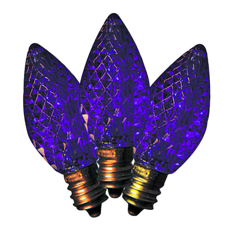 Holiday Bright Lights  LED C7  Faceted  Christmas Light Bulbs  Purple  2 in. 25 pk