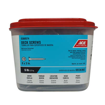Ace No. 8 x 3 in. L Square Bugle Head Galvanized Deck Screws 5 lb. 472 pk