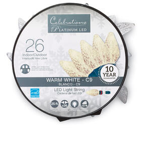 Celebrations  Platinum  LED  C9  Light Set On A Reel  White  24 ft. 25 lights