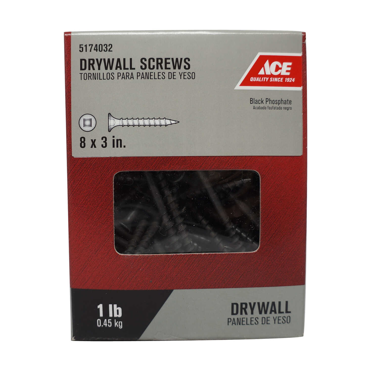 Ace  No. 8   x 3 in. L Square  Bugle Head Black Phosphate  Steel  Drywall Screws  1 lb. 96 pk