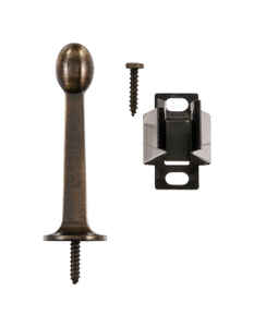 Ace  2.4 in. H x 3 in. W Metal  Gold  Antique  Rigid Door Stop w/Holder  Mounts to door and wall