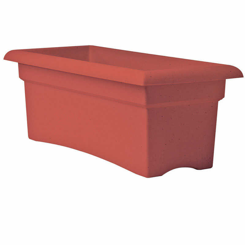 Bloem  10 in. H x 12 in. W x 26 in. L Terracotta Clay  Resin  Veranda  Planter