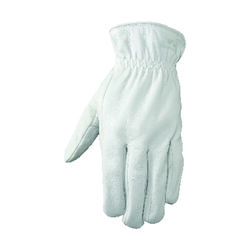 Wells Lamont L Goatskin Leather Driver Pearl Gray Gloves