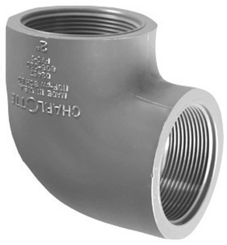 Charlotte Pipe  Schedule 80  3/4 in. FPT   x 3/4 in. Dia. FPT  PVC  Elbow  90 deg.