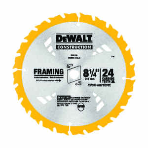 DeWalt  8-1/4 in. Dia. x 5/8 in.  Construction  Framing Blade  Carbide Tipped  24 teeth 1 pk