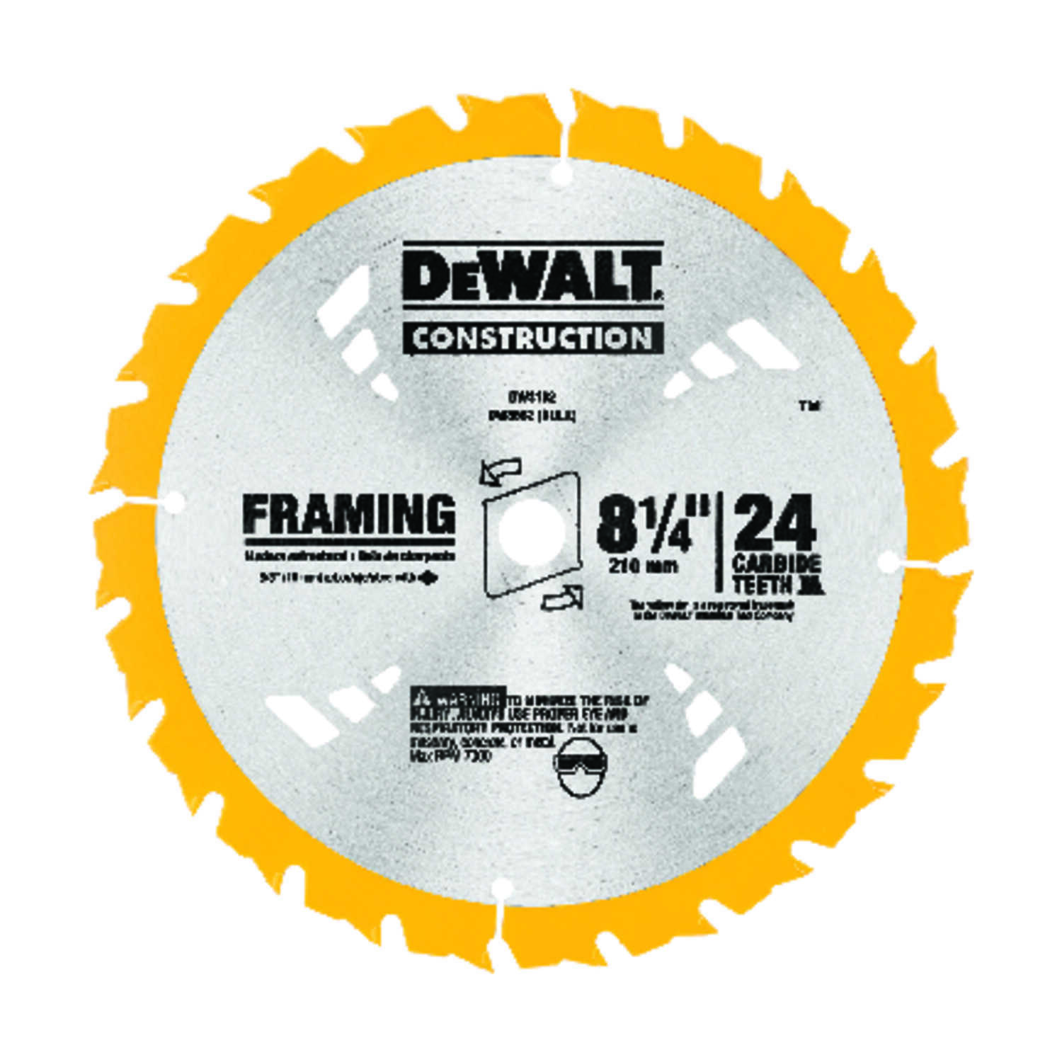 DeWalt  8-1/4 in. Dia. x 5/8 in.  Carbide Tipped  Construction  Framing Blade  24 teeth 1 pk