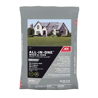Ace  ALL-IN-ONE  33-0-3  Weed and Feed  For Mixed 12 lb. 5000 sq. ft.